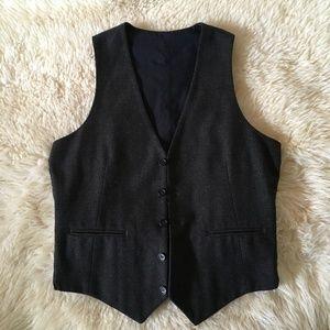 ASOS Brown Wool Blend Tweed Waistcoat Vest ~ 40